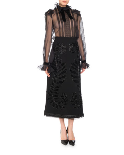 Silk Organza Long-Sleeve Lace-Trim Blouse  and Matching Items