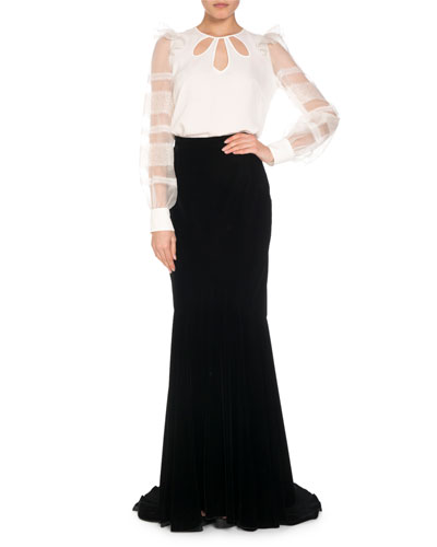 Keyhole Silk Blouse w/ Organza & Lace Sleeves  and Matching Items