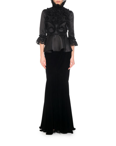3/4-Sleeve Silk Ruffle-Embroidered Blouse w/ Dramatic High Neck and Matching Items