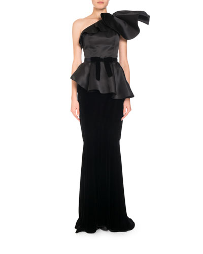 Dramatic One-Shoulder Silk Peplum Top  and Matching Items