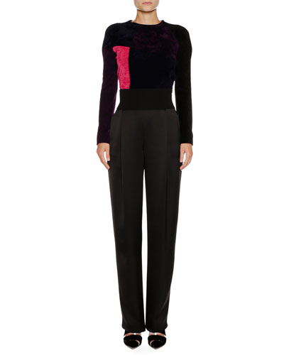Fantasia Crewneck Long-Sleeve Colorblocked Chenille Sweater and Matching Items
