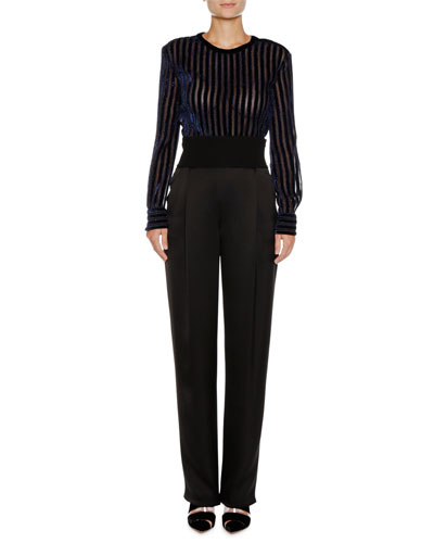 Long-Sleeve Striped Velvet Pullover Top and Matching Items