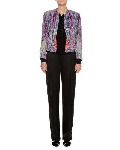 Zip-Front Crystal-Embroidered Chenille Jacket  and Matching Items