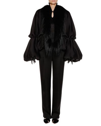 Blouson-Sleeve Silk Satin Jacket w/ Goat Fur Collar  and Matching Items