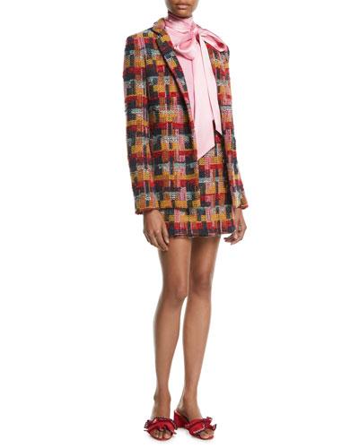 Plaid Tweed Blazer w/ Pockets and Matching Items