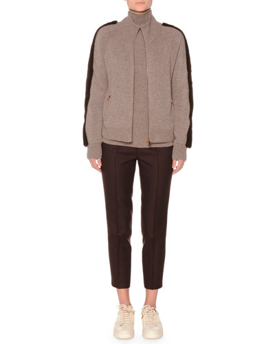 Zip-Front Cashmere Sweater With Mink Fur and Matching Items