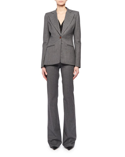 Single-Breasted Pinstripe Blazer and Matching Items