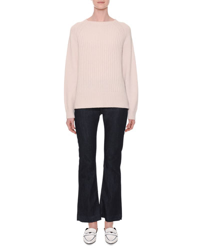 Crewneck Long-Sleeve Ribbed Cashmere Sweater and Matching Items