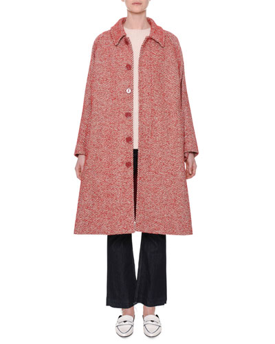 Diagonal-Striped Button-Front Wool-Blend Coat and Matching Items