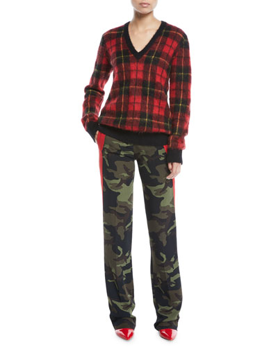 V-Neck Tartan Pullover w/Animal-Print Elbow Patches and Matching Items
