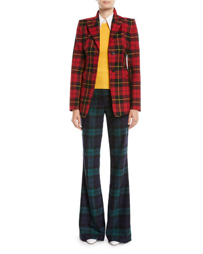Two-Button Plaid Wool Blazer and Matching Items