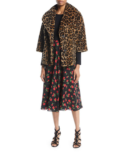 Button-Front 3/4-Sleeve Leopard-Print Lamb Shearling Jacket  and Matching Items
