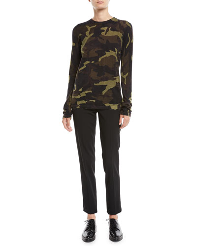 Crewneck Long-Sleeve Camo-Print Cashmere Top and Matching Items