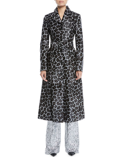 Button-Front Belted Leopard-Print Calfhair Coat  and Matching Items