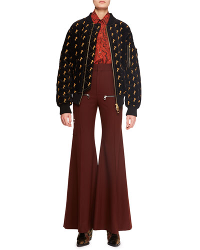 Zip-Front Horse-Embroidered Velvet Bomber Jacket  and Matching Items