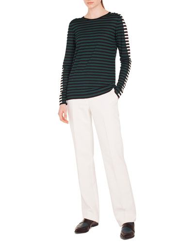 Round-Neck Long-Sleeve Striped Knit Wool Pullover Sweater and Matching Items