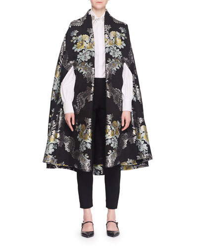 Open-Front Floral-Jacquard Cape  and Matching Items
