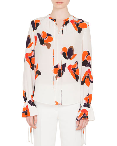 Round-Neck Macro Anemone-Print Ruched-Cuff Silk Blouse and Matching Items