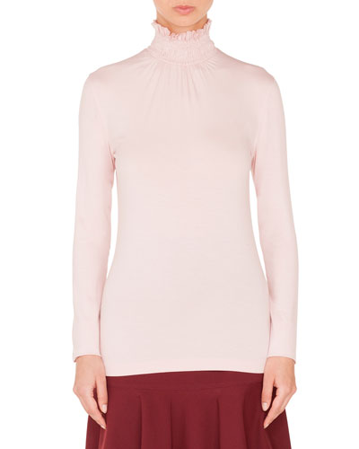 Smocked Turtleneck Long-Sleeve Jersey Top and Matching Items