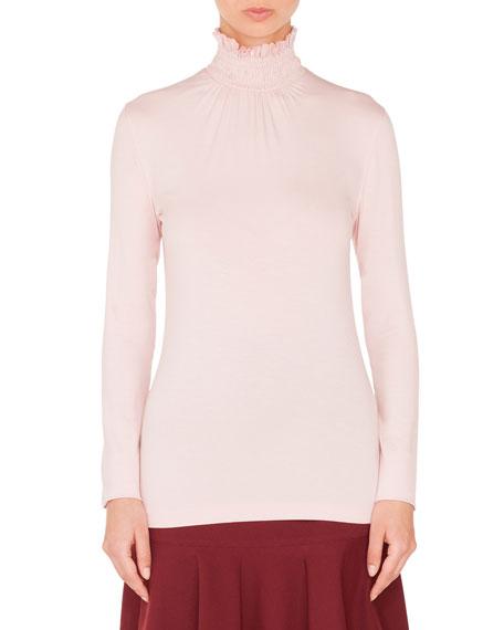 Smocked Turtleneck Long-Sleeve Jersey Top