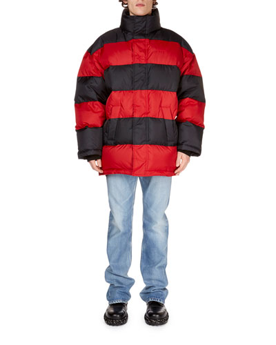 Men's Striped Puffer Coat and Matching Items