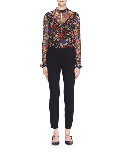 Long-Sleeve Floral-Print Silk Blouse w/ Ruffled Frills and Matching Items