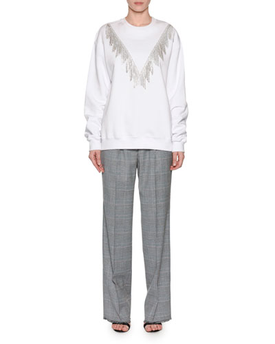 Crystal-Fringe Crewneck Pullover Sweatshirt and Matching Items