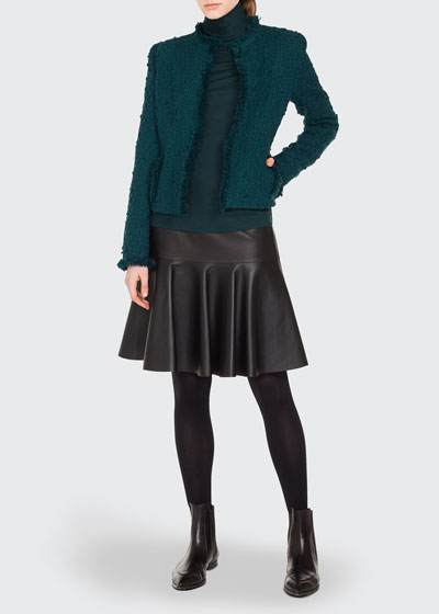 Long-Sleeve No-Closure Tweed Jacket w/ Fringe Piping and Matching Items