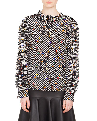 Ruched Long-Sleeve Round-Neck Crossroad-Print Silk Blouse and Matching Items
