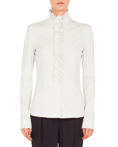 Ruched Stand-Collar Button-Front Long-Sleeve Cotton Jersey Blouse and Matching Items