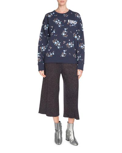Comfort Floral-Print Crewneck Logo Sweatshirt and Matching Items