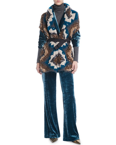 Peacock Folkloric Paillette Cap-Sleeve Cashmere Chunky-Knit Cardigan w/ Belt and Matching Items