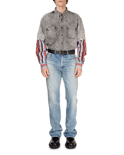 Men's Gray-Washed Denim Shirt with Striped Trim and Matching Items