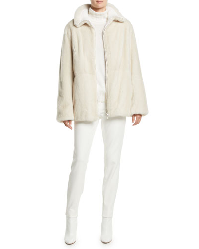 Cashmere Cable-Knit Reversible Mink Fur Jacket  and Matching Items