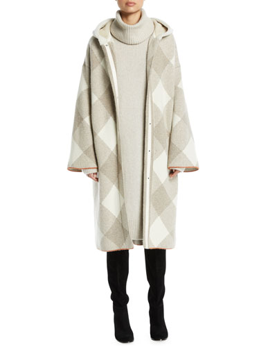 Snap-Front Geometric-Intarsia Long Cashmere Coat and Matching Items