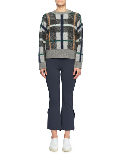 Crewneck Plaid Wool-Blend Sweater and Matching Items