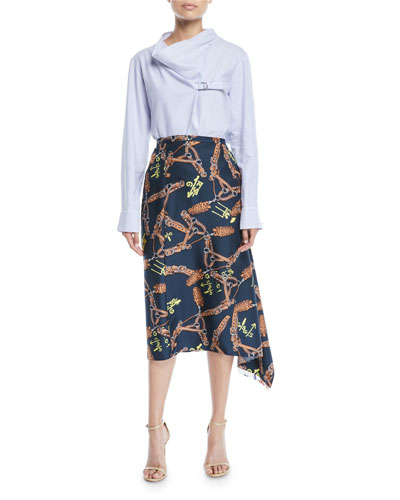 Renzo Scarf-Print Asymmetric Midi Skirt and Matching Items