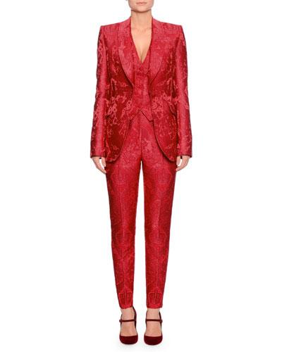 Single-Breasted Shawl-Collar Cherub-Jacquard Jacket and Matching Items