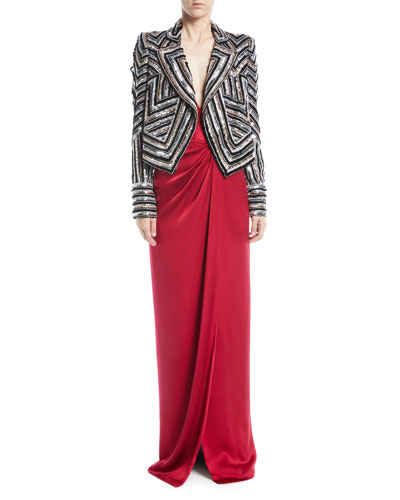 Notched-Lapel Open-Front Sequin-Embroidered Jacket  and Matching Items