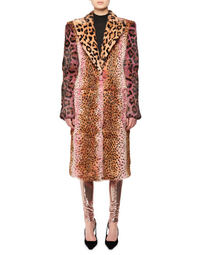 Strong-Shoulder Jaguar & Cheetah Patch Rabbit-Fur Coat  and Matching Items