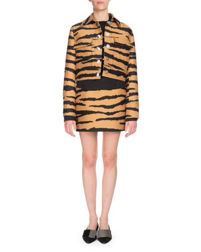 Tiger-Jacquard Snap-Front Cropped Jacket and Matching Items
