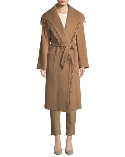 Pacos Wrap Camel Hair Coat w/ Self Belt and Matching Items