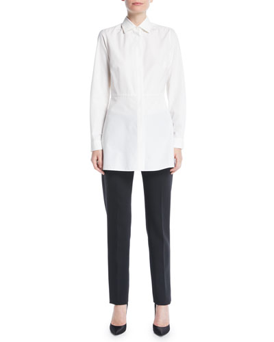 Losanna Button-Front Long-Sleeve Flared Cotton Shirt and Matching Items