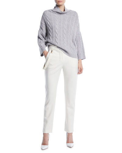 Fungo Mock-Neck Cable-Knit Wool-Cashmere Sweater and Matching Items