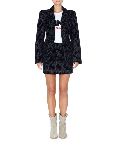 One-Button Flocked Velvet FF Denim Jacket  and Matching Items