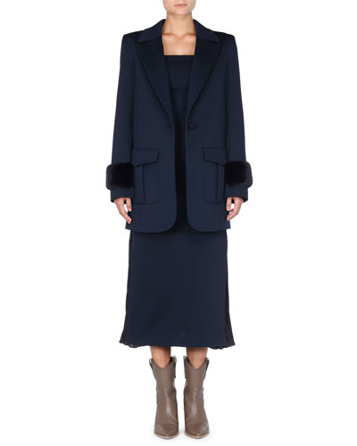 Flap-Pockets One-Button Straight-Cut Pique Jersey Coat w/ Mink Cuffs and Matching Items