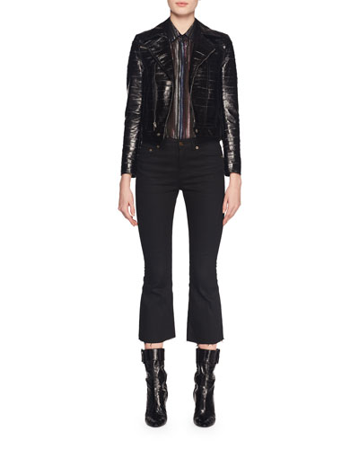 Zip-Front Eel-Skin Biker Jacket  and Matching Items