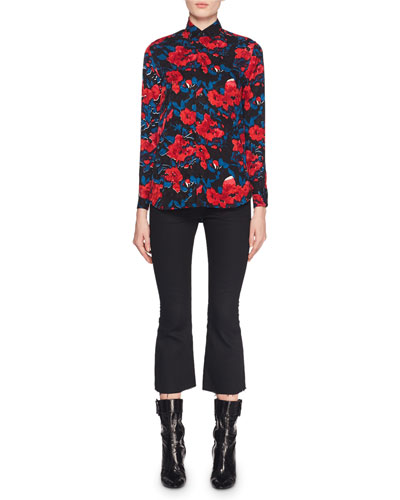 Button-Front Floral-Jacquard Silk Classic Blouse and Matching Items