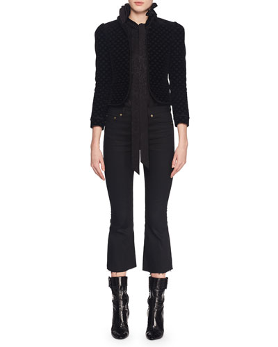 Stand-Collar Button-Front Embroidered Velvet Cropped Blazer and Matching Items