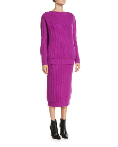Boat-Neck Long-Sleeve Ribbed Wool-Cashmere Pullover Sweater and Matching Items